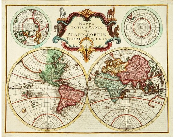 ANONYME. -  Mappa Totius Mundi vel Planiglobium Terrestris.