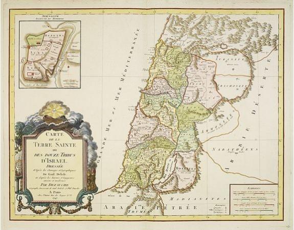 DE L'ISLE,  G. / BUACHE, Ph. -  Carte de La Terre Sainte ou des douze tribus d'Israel..