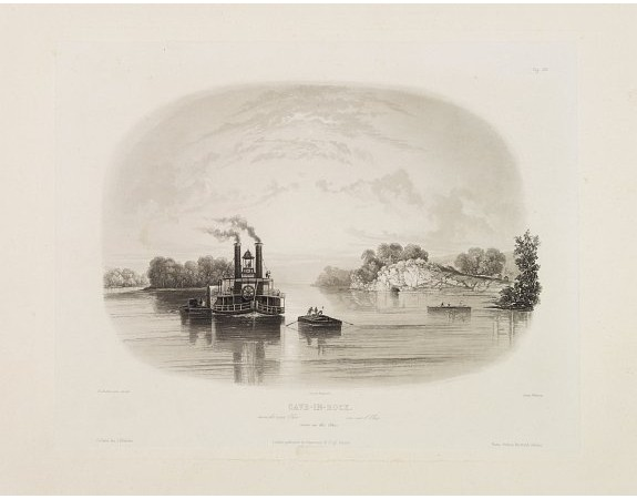 BODMER, K. -  Cave in Rock- view on the Ohio.