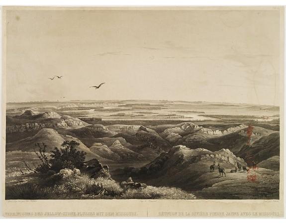 BODMER, K. -  Réunion de la riviere Pierre Jaune avec le Missouri.