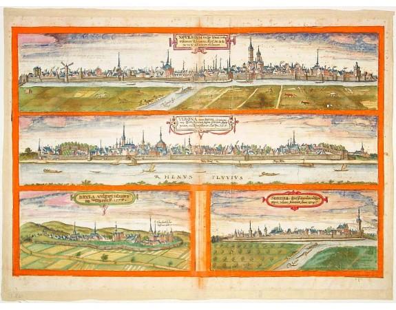 BRAUN, G. / HOGENBERG, F. -  Novesium vulgo Neus - Verona nunc Bonn - Brula - Sontina, Zunsz Oppidum. . .
