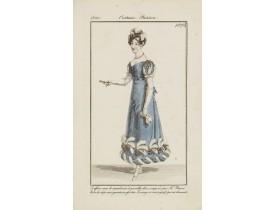 COSTUME PARISIEN. -  Coiffures orné de marabouts.. (1875).