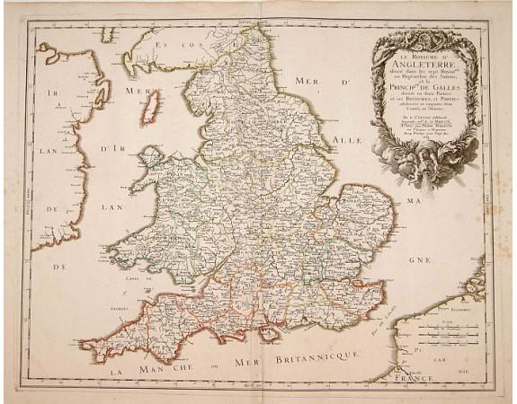 SANSON, N. / MARRIET, P. - Le Royaume d'Angleterre, divisé dans les sept..
