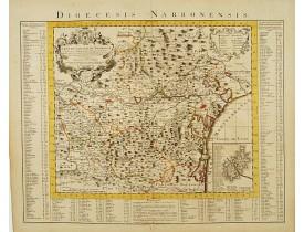 COVENS, J. / MORTIER, C. -  Carte du Diocese de Narbonne Dressée..