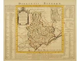 Carte du Diocese de Beziers Dressée.