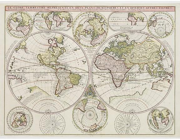 CORONELLI, V. / DE TILLEMONT. / NOLIN. -  Le Globe Terrestre Represente en Devx Plans Hemispheres, …