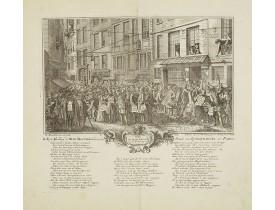 ANONYME. -  Rue Quinquempoix en l'année 1720. De regte afbeelding der wind negotie gehouden in de straat van Quinquempoix tot Parys.