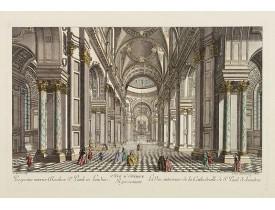 DAUMONT. -  5e Vue d'Optique Representant La Vue interieure de la Cathedralle de St. Paul de Londres.