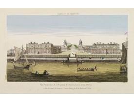 HUQUIER. -  Vüe Perspective de l'Hospital de Greenwich prise de la Thamise.