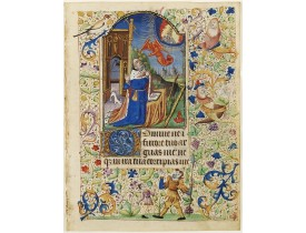 FRANCISCAN BOOK OF HOURS, USE OF ROME. -  Miniature of King David kneeling and gazing toward heaven.