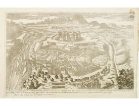 CRÉPY, Etienne-Louis. -  Le Château Dauphin avec les retranchement foreé le 18. et 19. Juillet par les troupes francoises et Despagne reunie..