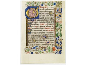 BOOK OF HOURS. -  Leaf on vellum, from a manuscript book of hours.