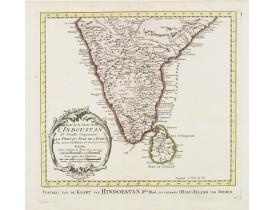HARREVELT, E. van/ CHANGUION, D.J. -  Suite de la Carte des L'Indoustan, Iie Feuille..