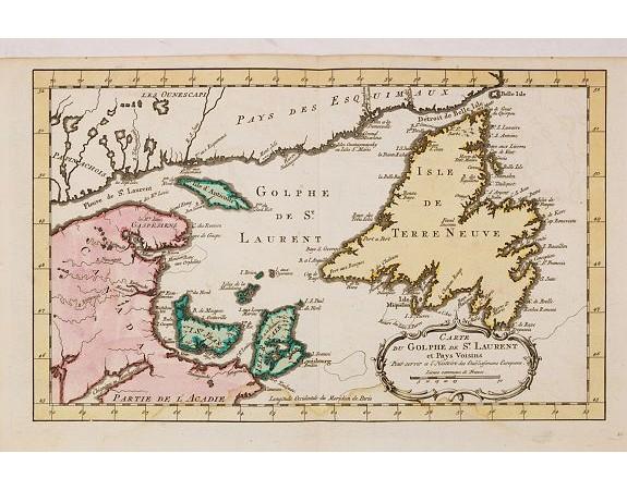 HARREVELT, E. van / CHANGUION, D.J. -  Carte du Golphe de St.Laurent et Pays Voisins..