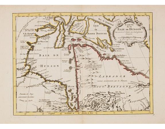 HARREVELT, E. van/ CHANGUION, D.J. -  Carte de la Baie de Hudson..