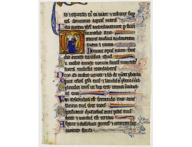 ANONYME. -  Illuminated leaf from a lithurgical Psalter.