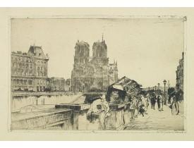 GRONDHOUT, W. A. -  Paris, Notre Dame and bridge over the Seine.