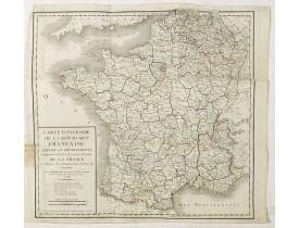 ROBERT DE VAUGONDY, G. -  Carte Itinéraire de la République Française divisée en Départements..
