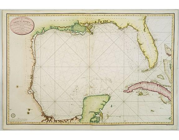 DÉPÔT GÉNÉRAL DE LA MARINE. -  Carte des cotes du Golfe du Mexique..