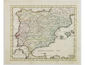 KEIZER, J./  DE LAT, J. -  Nieuwe Kaart van Portugal en Spanjen.