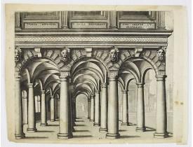 VREDEMAN DE VRIES, J. / GALLE, Th. -  Perspective print after Vredeman de Vries.