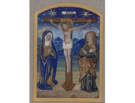 BOOK OF HOURS - The Crucifixion.  [A fragment from the Crucifixion].