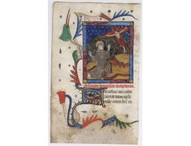 BOOK OF HOURS. -  The Stigmatization of Saint Francis of Assisi.  [Miniature from the Book of Hours, in the Suffrage of Saints].