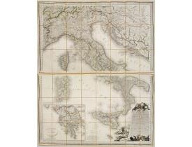 ORGIAZZI, J. A. -  Carte Statistique, Politique, et Minéralogique de l'Italie où sont tracées toutes les routes, relais, et distances de postes…