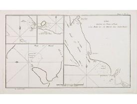 COOK, Captain J. -  Côte depuis la Baye d'York a la Baye et au Havre des Trois Isles / Baye St. David / Baye d'Elizabeth et la Baye en dessous des Isles. Tome I Pl. 5.