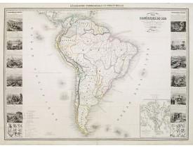 VUILLEMIN, A. -  Nouvelle carte Illustrée de l'Amérique du Sud . .