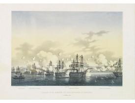 LANGLUME. / LE BRETON, L. -  L'escadre alliée bombarde les forts extérieurs de Sébastopol. (18 octobre 1854).