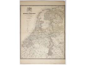 WITKAMP, P. H. -  Nieuwe kaart van het Koningrijk der Nederlanden.
