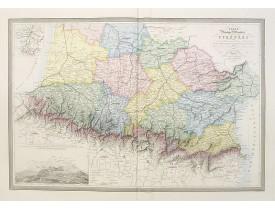 LOGEROT, A. / VUILLEMIN,  A. -  Carte physique et routière des Pyrénées.