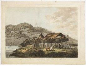 WEBBER, J. -  Balagans or summer habitations, with the method of drying fish at St. Peter and Paul, Kamtschatka.