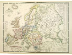 LOGEROT, A. -  Nouvelle carte physique et politique de l'Europe. Les grandes voies de communication.