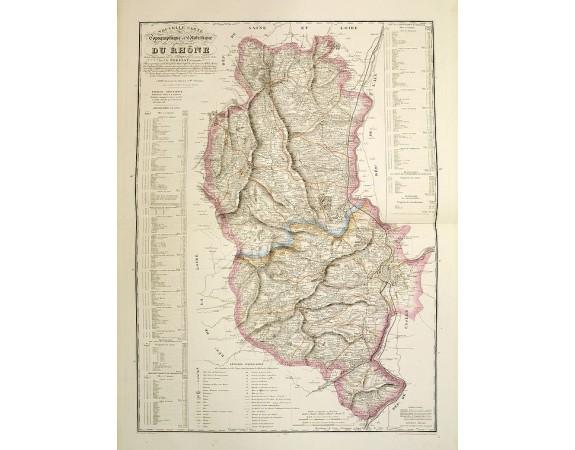 LOGEROT, A. / NOELLAT, J. B. -  Nouvelle Carte topographique et statistique du département du Rhône.