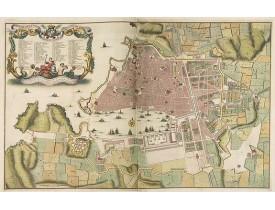 RAZAUD / VISSCHER, N. -  Plan géometral de la ville citadelles port et arcenaux de Marseille.