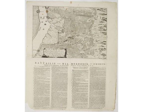 HUSSON, P. -  Plan van de Batailje der Hollandse en Franse Armée voorgevallen tussen Merijsebroek Wilmerdonk en Orderen op den 30. Junij onder commando van de Heer Generaal Obdam.