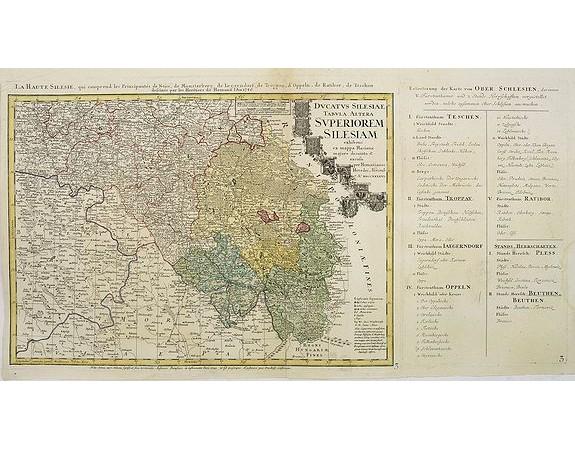 HOMANN Héritiers. -  Ducatus Silesiae Tabula Altera Superiorem Silesiam exhibens ex mappa Hasiana majore desumpta et excusa per Homannianos HeredesNorimb. Anno 1746.