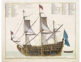 MORTIER, P. -  Coupe dun Amiral de 104 pieces de Canon avec ses principales proportions et les noms des pieces du dedans.