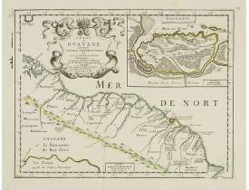 DU VAL, P. -  Coste de Guayane autrement Franc Equinoctale en la Terre-Ferme d'Amerique suivant les Dernières Relations . . .