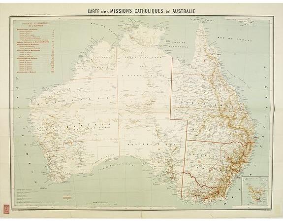 MISSIONS CATHOLIQUES. - Carte des missions Catholiques en Australie.