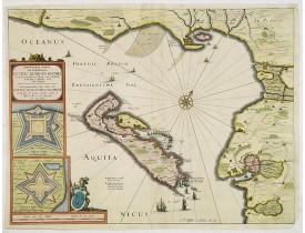 VISSCHER, C. J. -  Carte Particulière des costes de Poittou Aunis, et de la Rochelle et du fort St. Louys comme aussy de l'Isle de Ré avec ses forts.