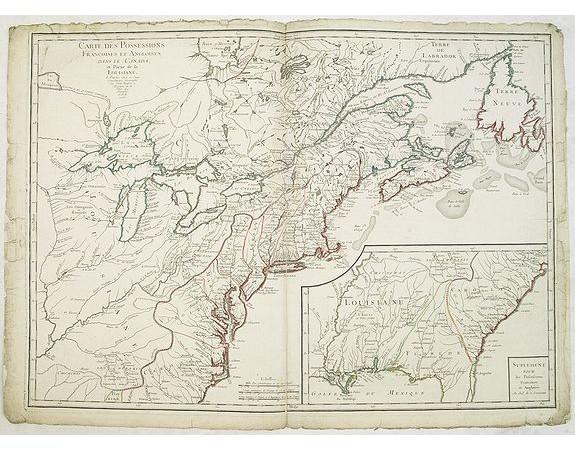 LONGCHAMPS, le Sieur. -  Carte des Possessions Françoises et Angloises dans le Canada et partie de la Louisiane. . .