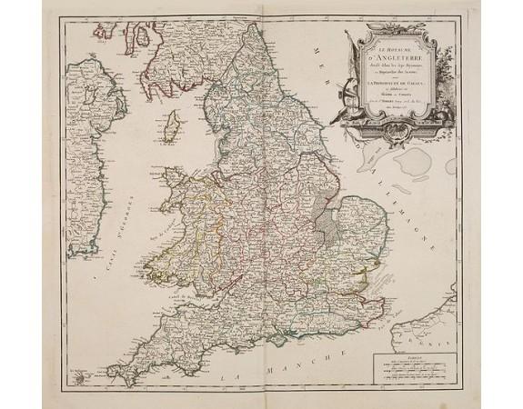 ROBERT DE VAUGONDY, G. -  Le Royaume D'Angleterre, divise selon les sept Royaumes ou Heptrachie des Saxons, avec La Principaute De Galles, et subdivisie en Shires ou Comtes…