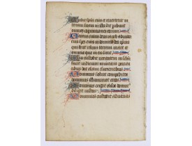 BOOK OF HOURS. -  Fine manuscript leaf from a Flemish book of hours, on vellum.