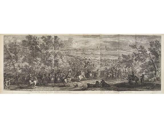MEULEN, A. F. van der. -  Veue de la Ville, et du Port de Calais, di côte de la terre.