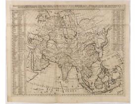 CHATELAIN, H. -  Nouvelle carte de l'Asie avec des tables..