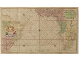 VAN KEULEN, G. -  Nieuwe Wassende Graadige Pas-kaart van de Kust van Guinea en Brasilia.