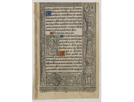 BOOK OF HOURS. -  A printed leaf from a Book of Hours.